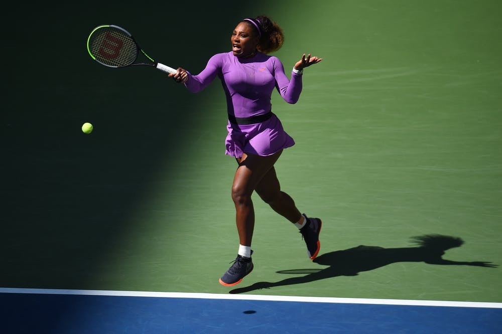 Serena Williams hitting a forehand during the 2019 US Open