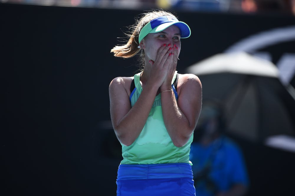 Sofia Kenin looking surprised at the 2020 Australian Open