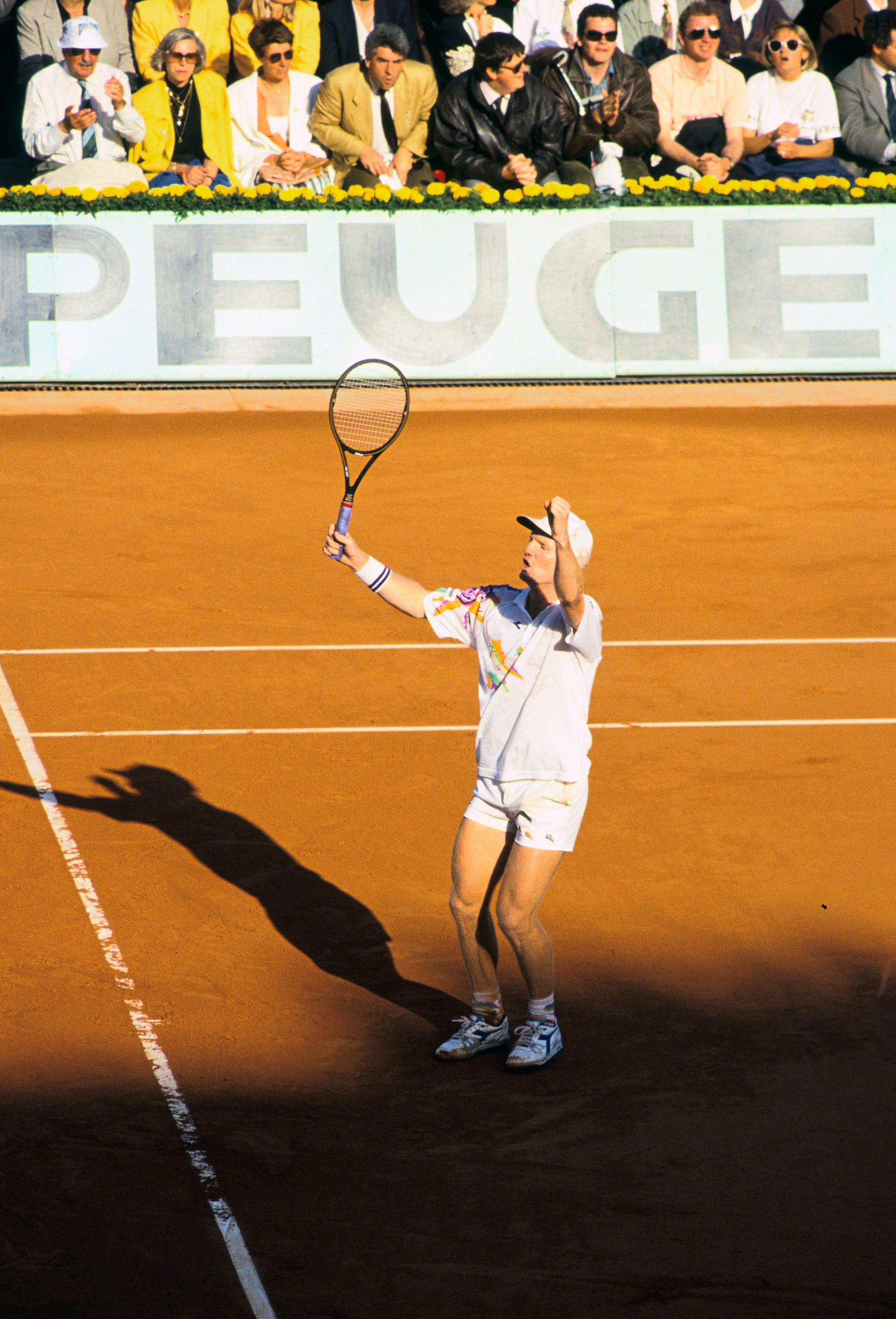 Jim Courier during the final against Andre Agassi at Roland-Garros 1991