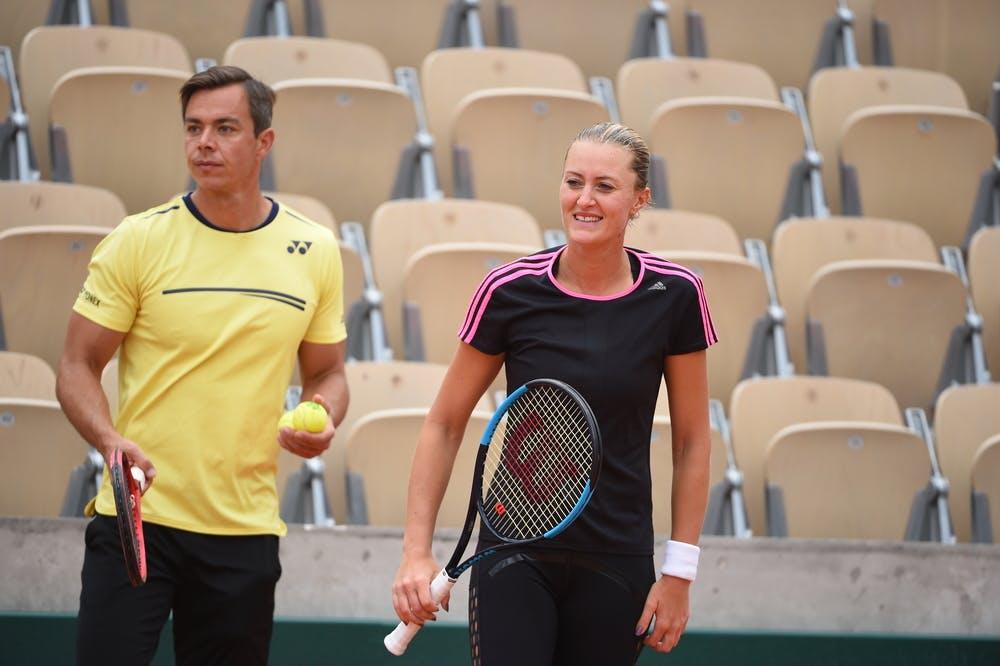Kristina Mladenovic - Sascha Bajin - Roland-Garros 2019 - entraînement