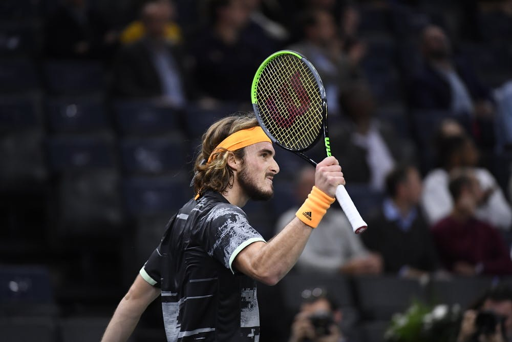Stefanos Tsitsipas during the 2019 Rolex Paris Masters