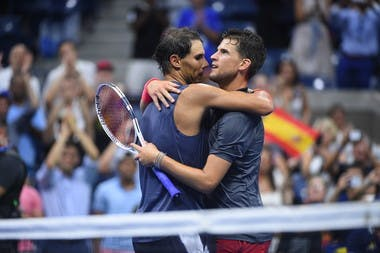 Warm embrace at the net between Rafael Nadal and Dominic Thiem US Open 2018.