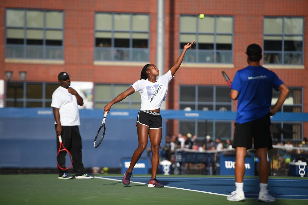 Cori Gauff at practice with father and coach during 2019 US Open