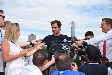 Roger Federer answering to the press the day after his victory at the 2018 Australian Open
