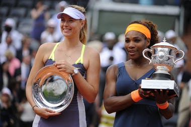 Serena Williams and Maria Sharapova after the final at Roland-Garros 2013