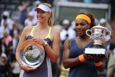 Serena Williams and Maria Sharapova after the final at Roland-Garros 2013