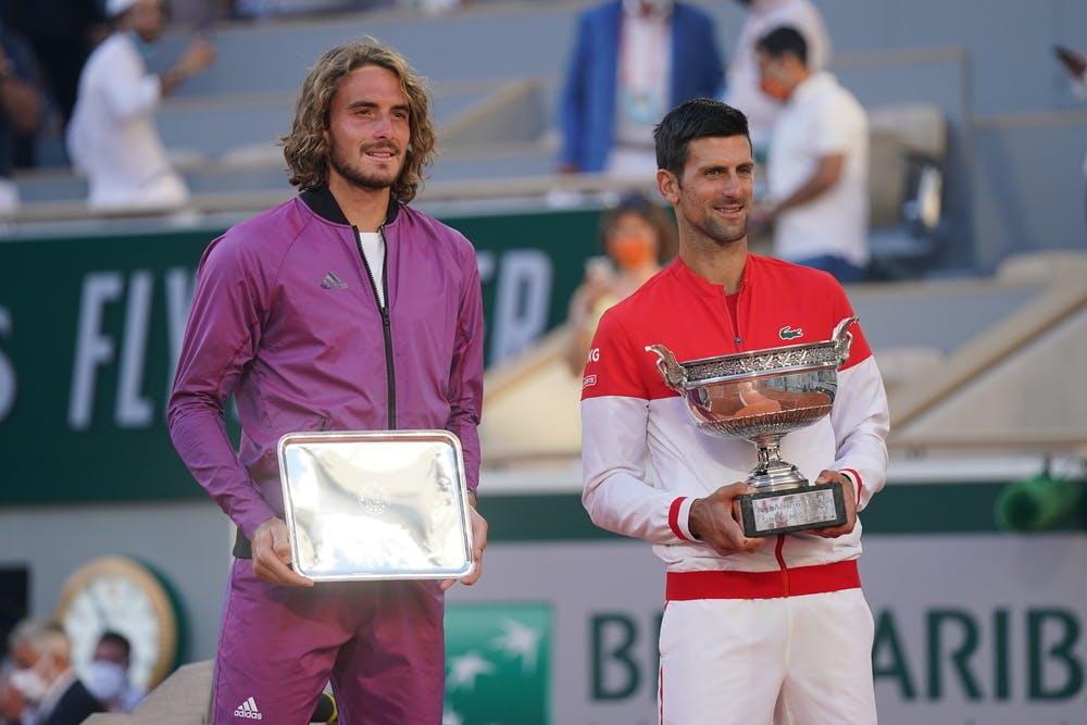 Novak Djokovic, Stefanos Tsitsipas, Roland Garros 2021, final trophies