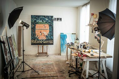 Pierre Seinturier's studio in Paris for Roland-Garros 2020 poster