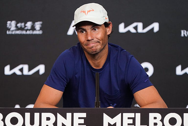 Rafael Nadal during a press conference in Melbourne 2021
