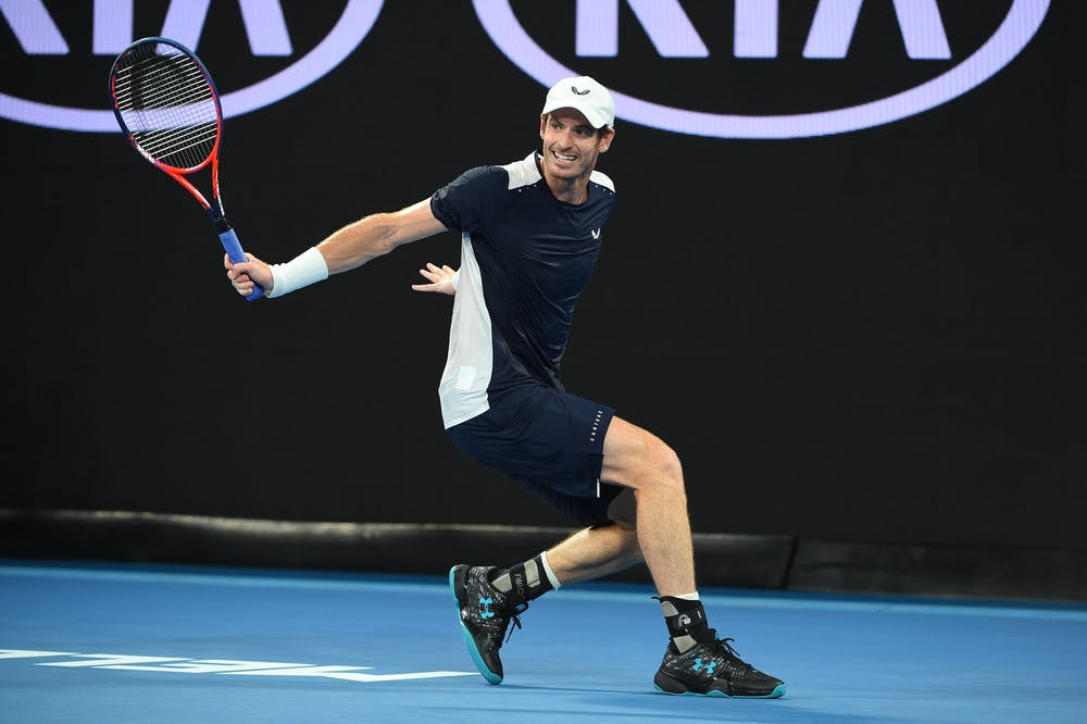 Andy Murray hitting a backhand during the 2019 Australian Open