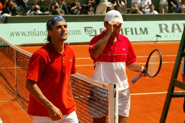 Fabrice Santoro & Arnaud Clément during the first round at Roland-Garros 2004