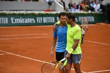 Hug between Dominic Thiem and Rafael Nadal Roland-Garros 2019
