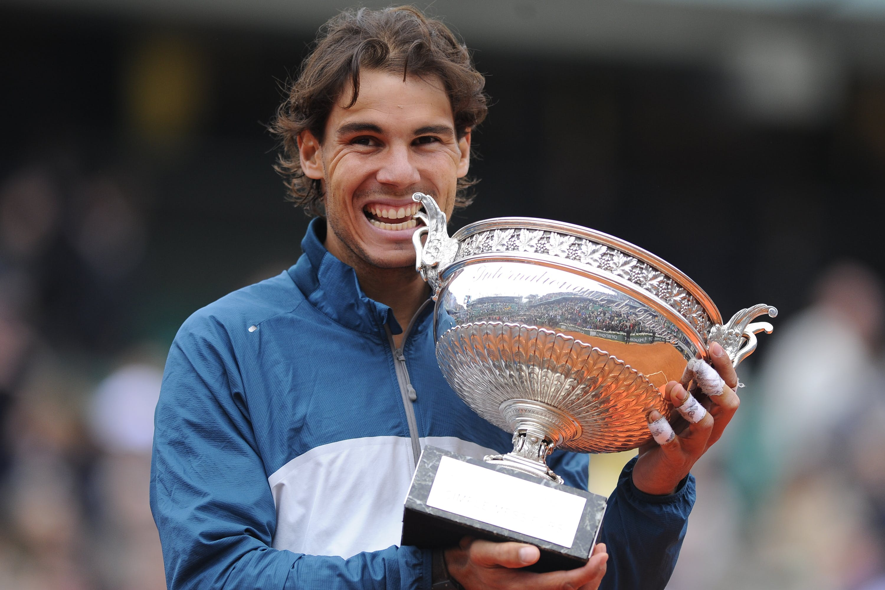 Rafael Nadal with the trophy at Roland-Garros 2013