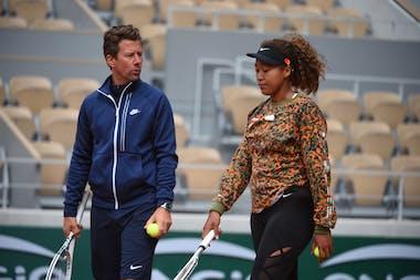 Naomi Osaka, Wim Fissette, Roland Garros 2021, practice