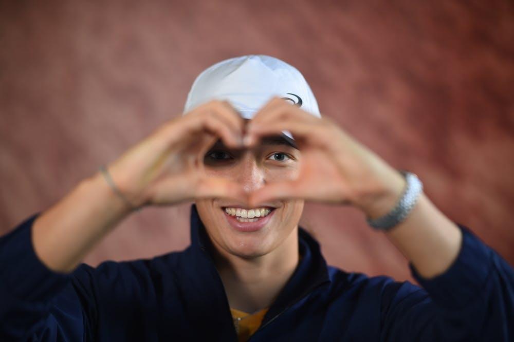 Smiling Iga Swiatek during Roland-Garros 2021