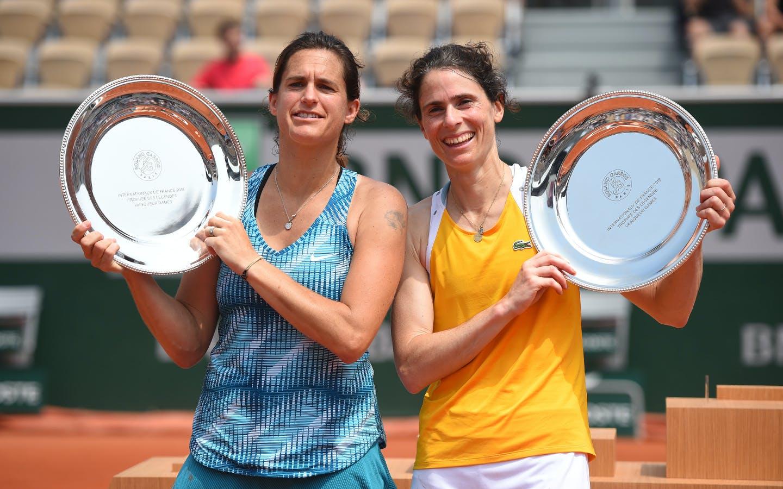 Amélie Mauresmo et Nathalie Dechy, Légendes dames, Roland-Garros 2018.