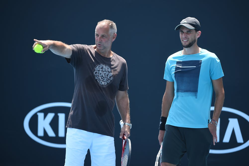 Dominic Thiem with Thomas Muster during Australian Open 2020