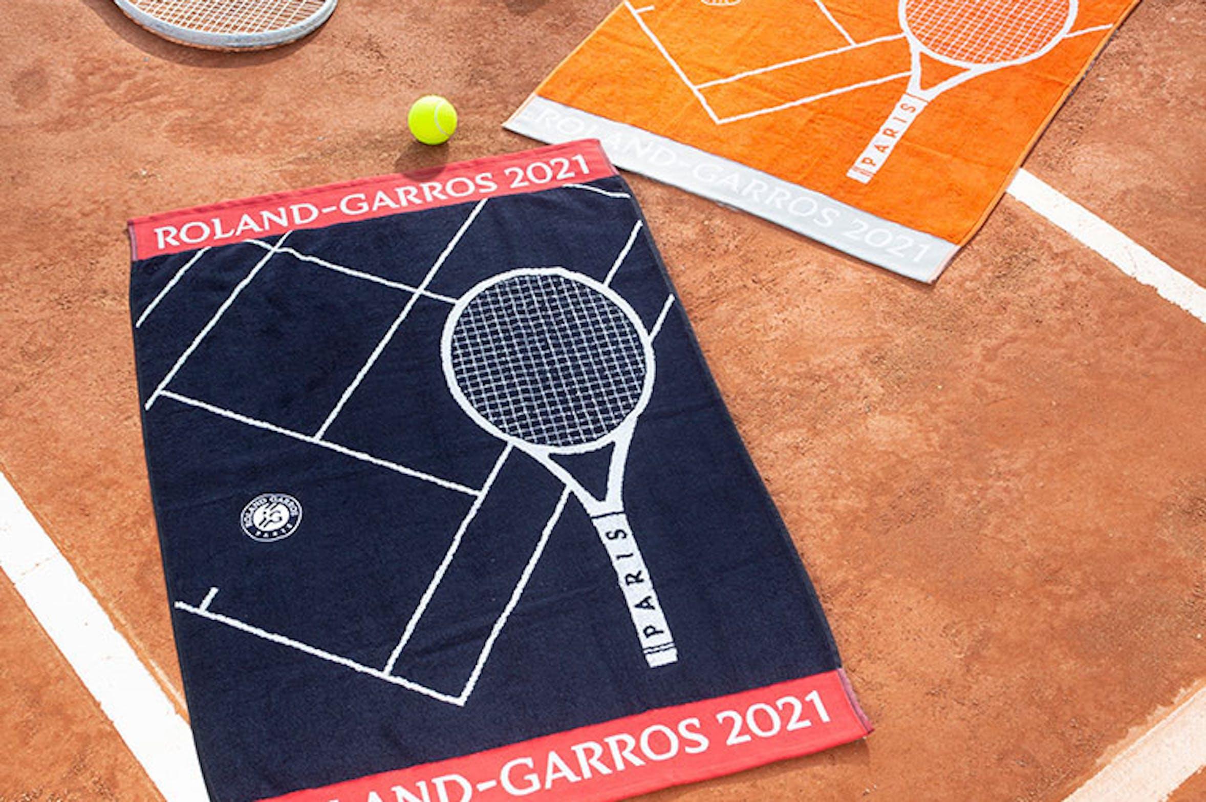 serviettes officielles roland-garros, carré blanc, 2021