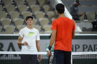 Jannik Sinner, Novak Djokovic, Roland Garros 2020 practice