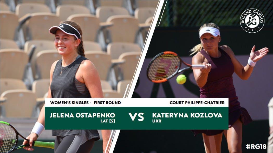 Ostapenko Kozlova 1er tour Roland-Garros 2018 1st round