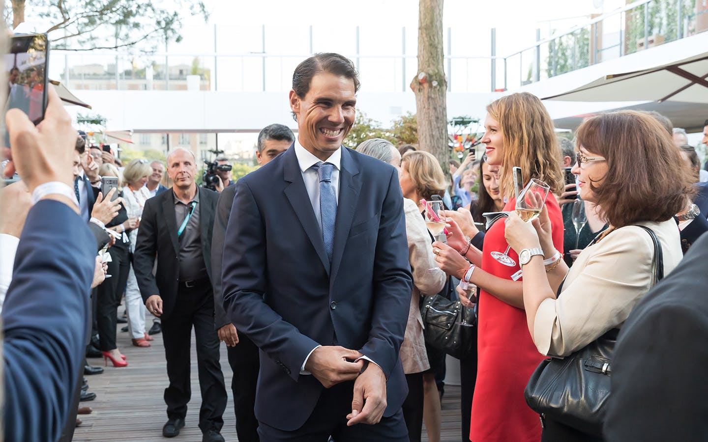 Rafael Nadal inauguration Village Roland-Garros 2018.