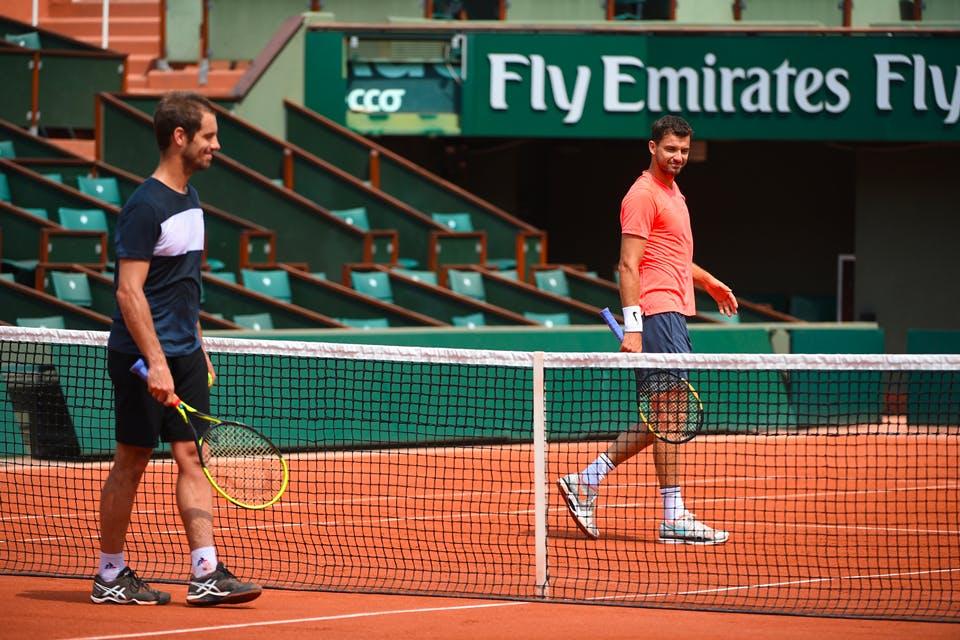 Grigor Dimitrov et Richard Gasquet entraînement Roland-Garros 2018