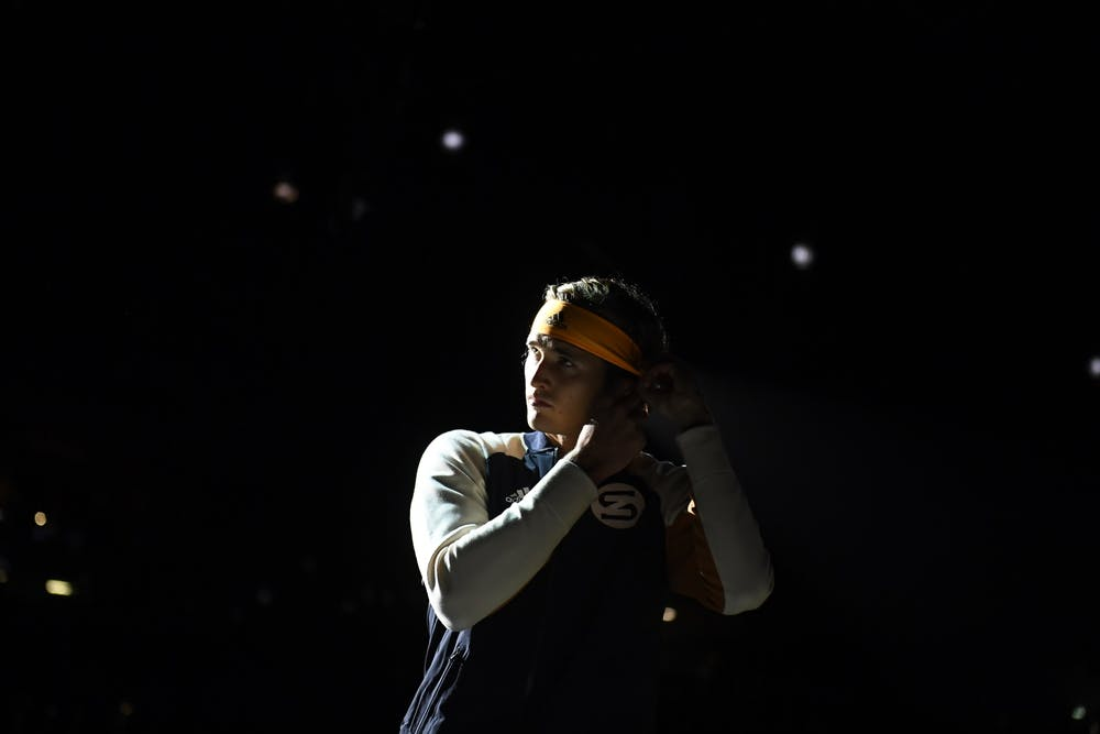 Alexander Zverev in the shadow during the Rolex Paris Masters 2019