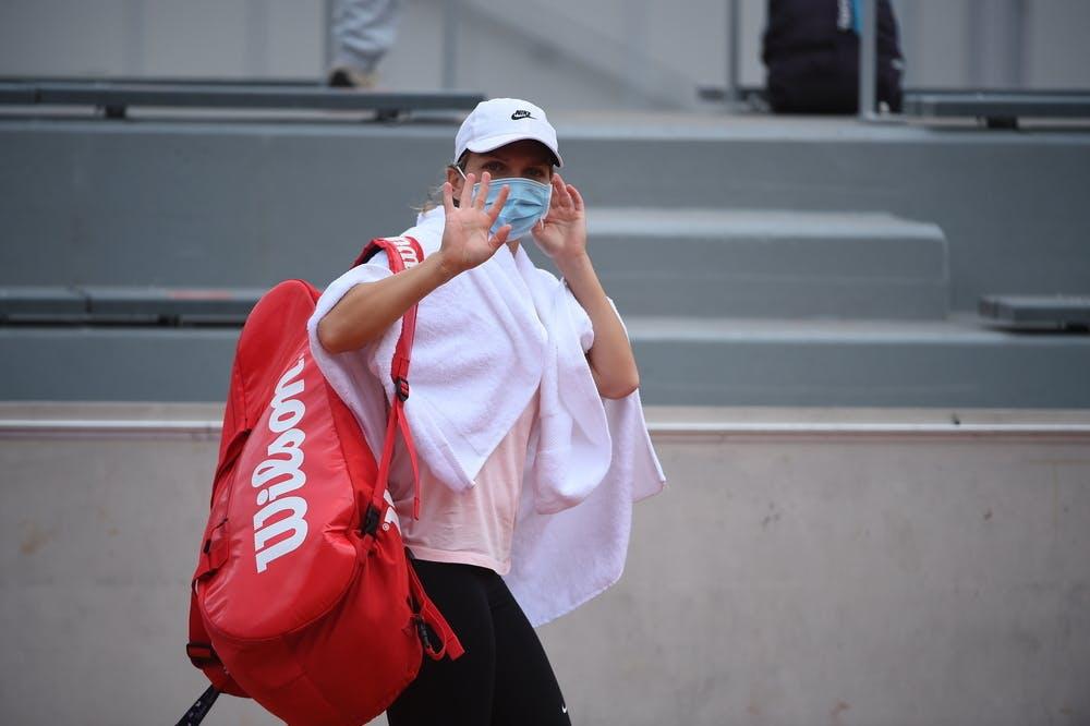 Simona Halep, masque, Roland-Garros 2020, entraînement