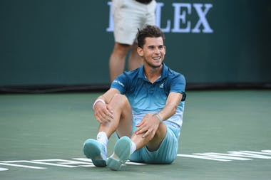 Dominic Thiem smiling right after match point in the 2019 Indian Wells final