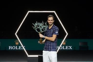 Daniil Medvedev posing with his Rolex Paris Masters 2020 trophy