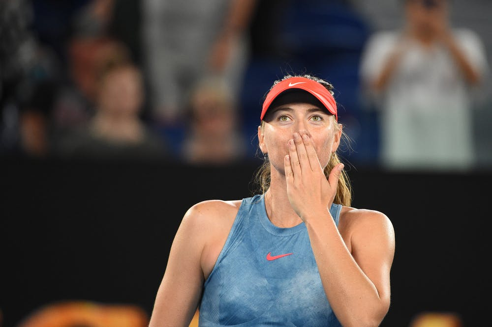 Maria Sharapova sending a kiss to the crowd