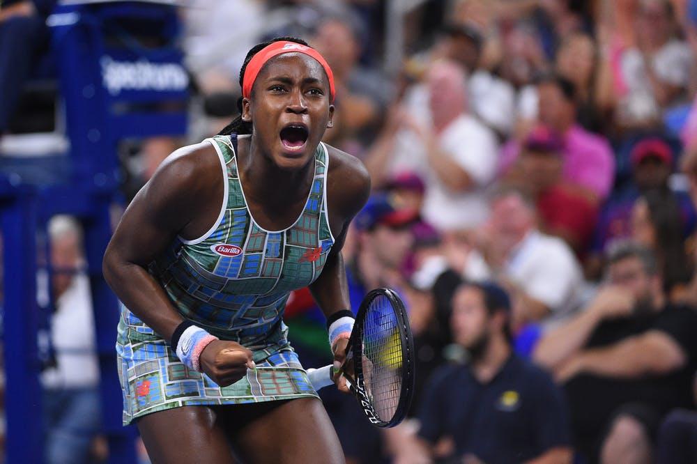 Cori Gauff shouting during the 2019 US Open