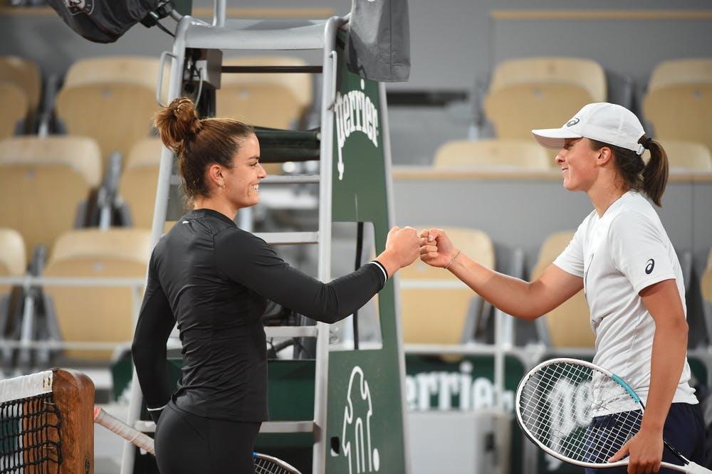 Maria Sakkari, Iga Swiatek, Roland Garros 2021, practice