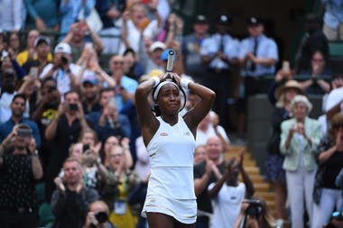 Cori Gauff crying out of joy after defeating Venus Williams at Wimbledon 2019