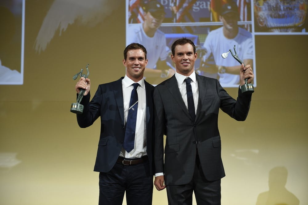 Bob and Mike Bryan at the Dîner des champions du monde during Roland-Garros 2015