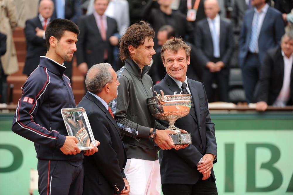 Nadal Djokovic roland garros 2012 trophy wilander