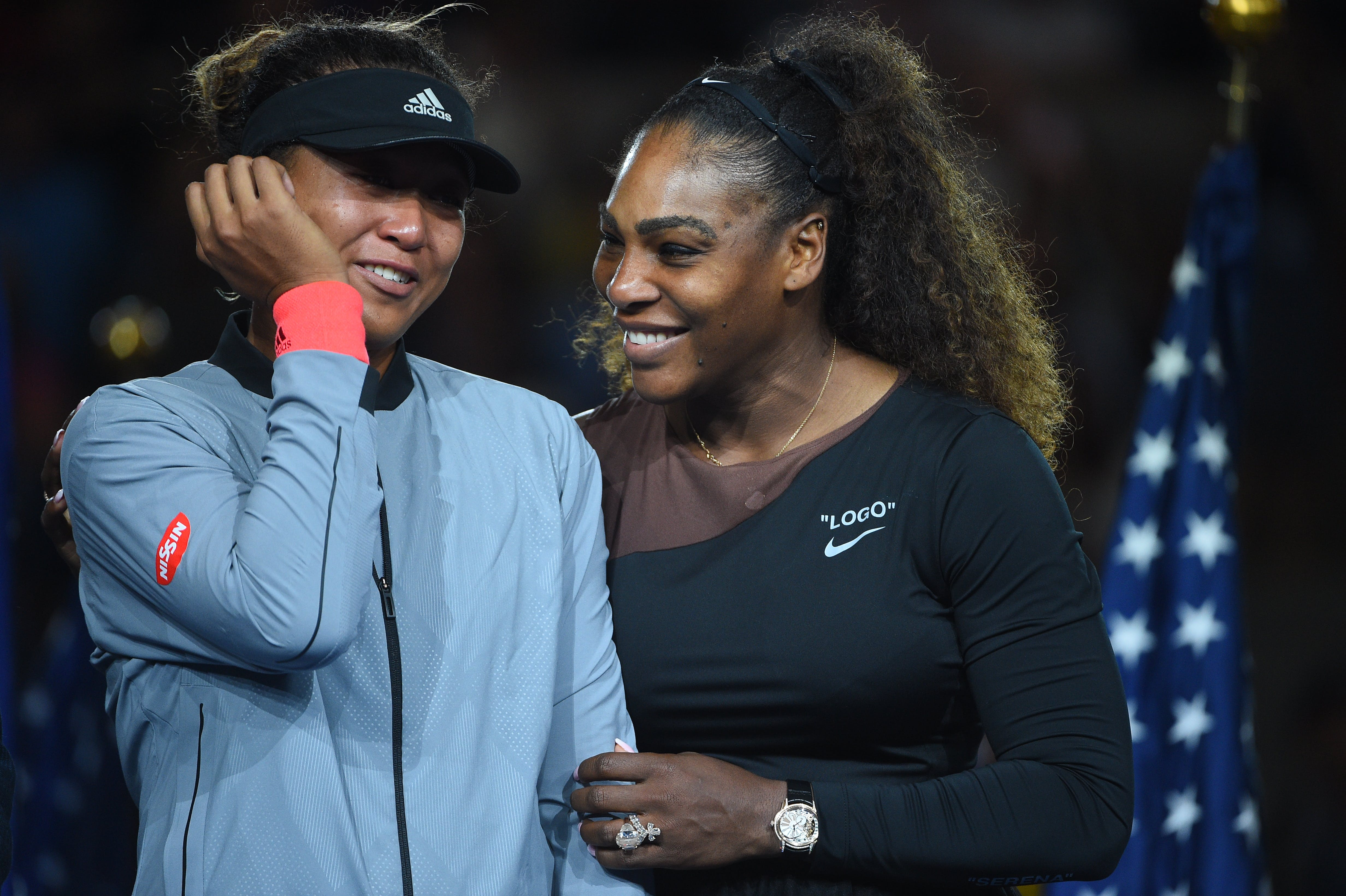 Naomi Osaka and Serena Williams during the trophy presentation US Open 2018