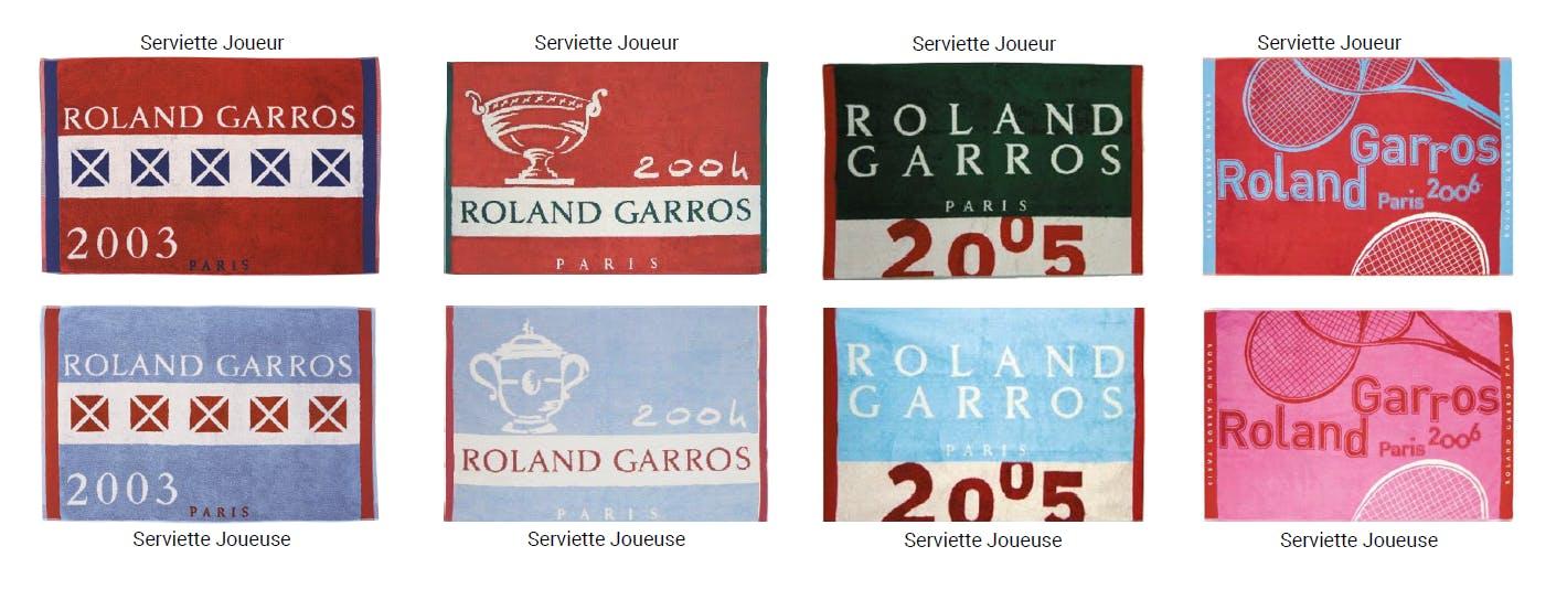 Serviettes joueurs joueuses Roland-Garros Carré Blanc