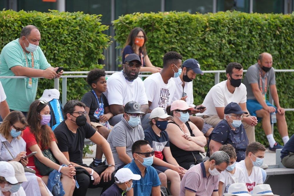 Teddy Riner and Giovanni Mpetshi Perricard watch boys' singles final, Roland-Garros 2021
