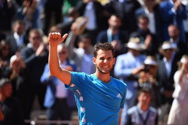 Dominic Thiem smiling after a victory during Roland-Garros 2019