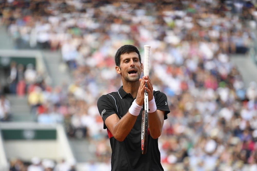 Novak Djokovic during the match against Marco Cecchinato at Roland-Garros 2018
