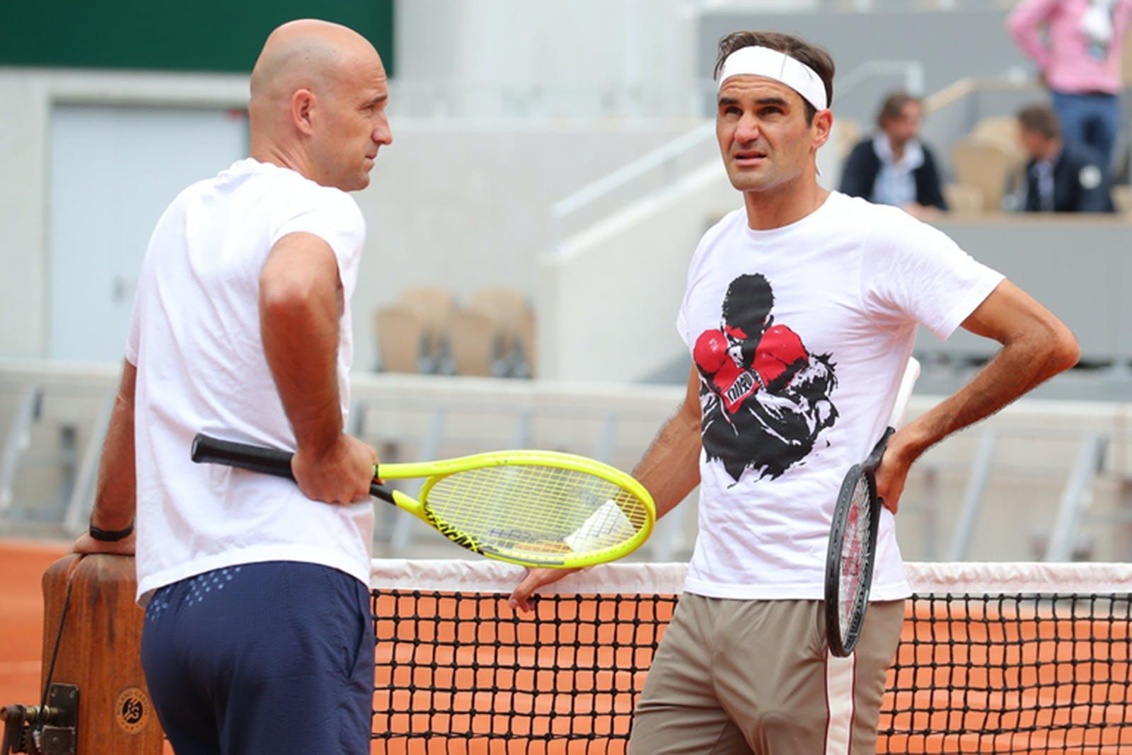 Roger Federer and coach Ivan Ljubicic at practice