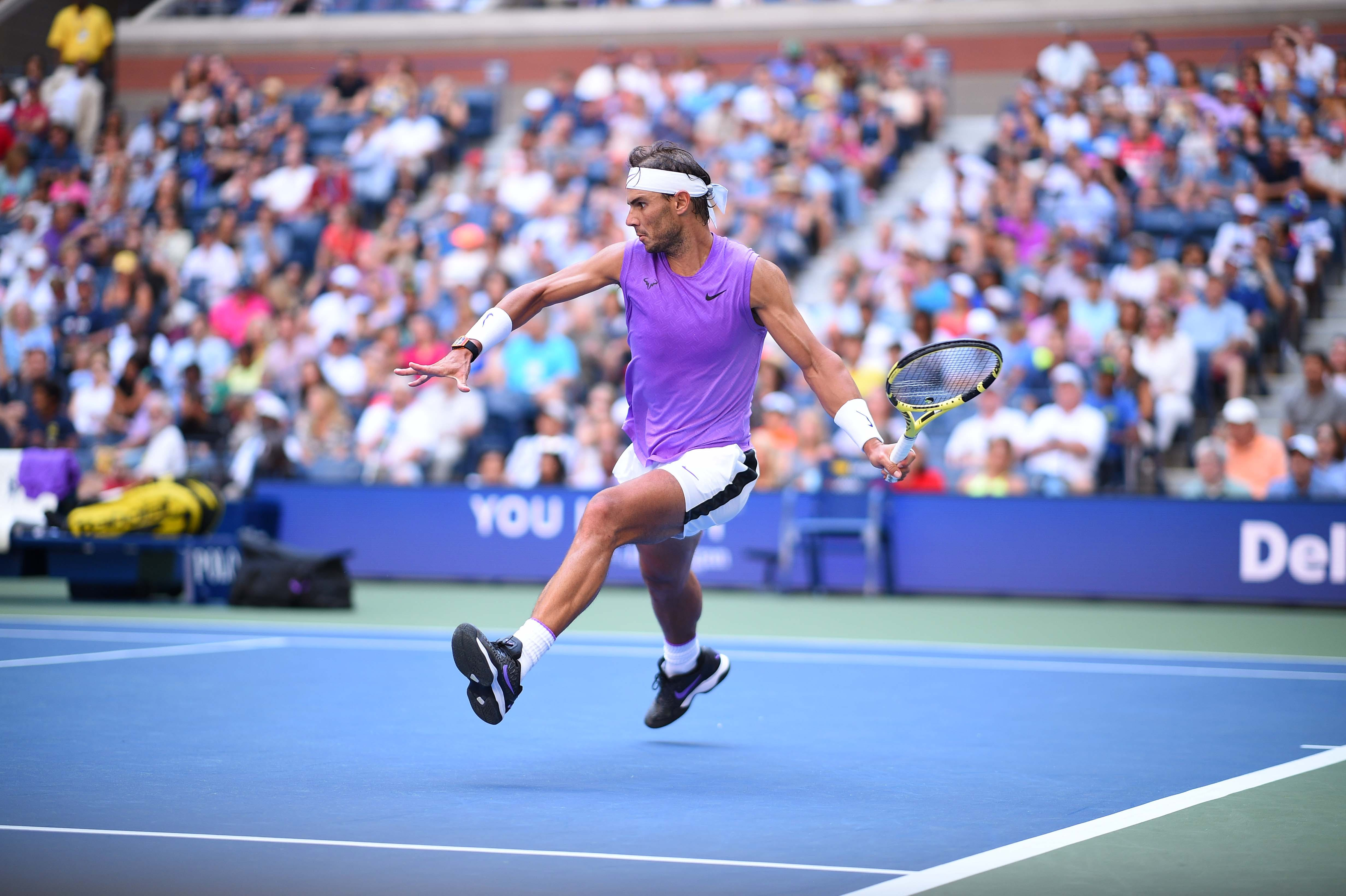 Rafael Nadal preparing a forehand during his third round match at the 2019 US Open