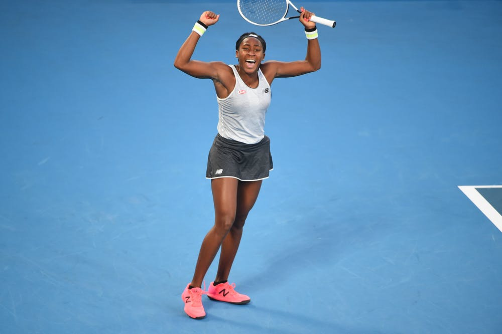Coco Gauff shouting out of joy during the Australian Open 2020