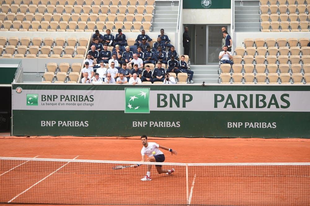 Novak Djokovic at practice on the court Suzanne-Lenglen Roland-Garros 2018