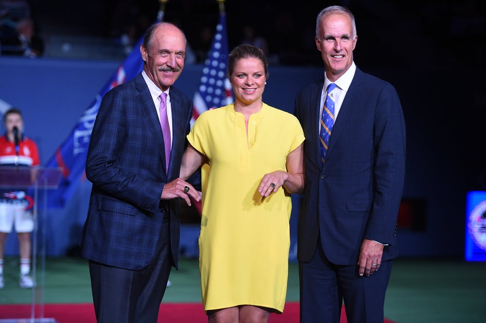 Stan Smith, Kim Clijsters and Todd Martin Us Open Hall of Fame ceremony