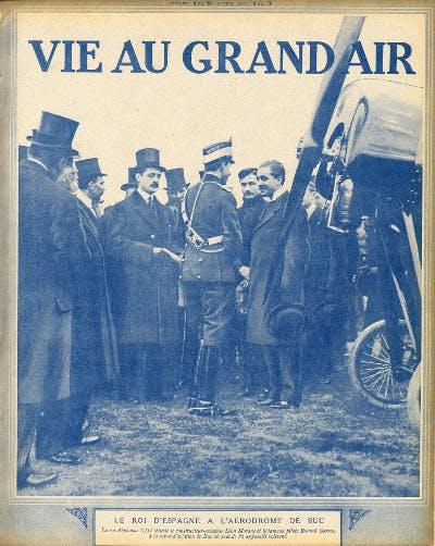 Roland Garros aviateur et le roi d'Espagne.