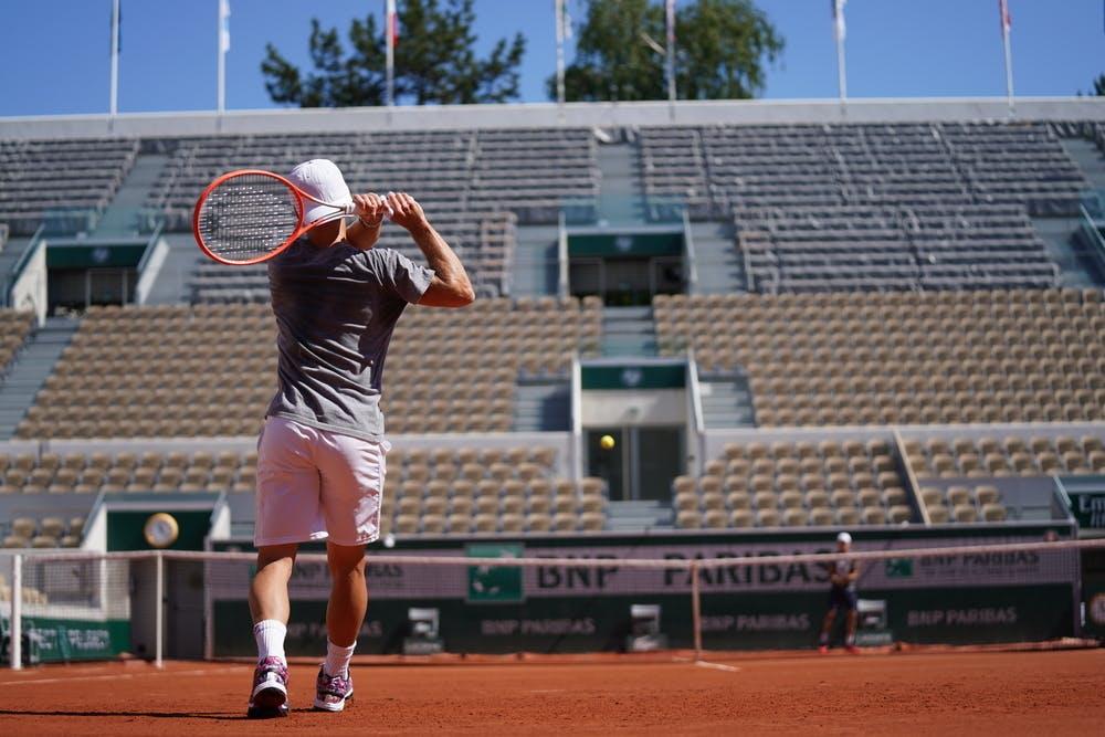 Diego Schwartzman practicing with Roberto Bautista Agut, Roland Garros 2021