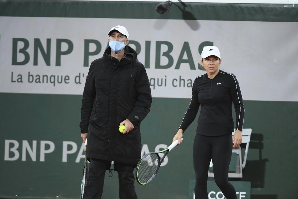 Darren Cahill, Simona Halep, Roland Garros 2020 practice