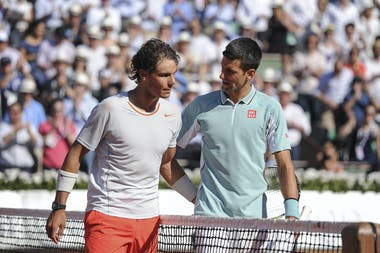 Nadal and Djokovic during the semi-final at Roland-Garros 2013